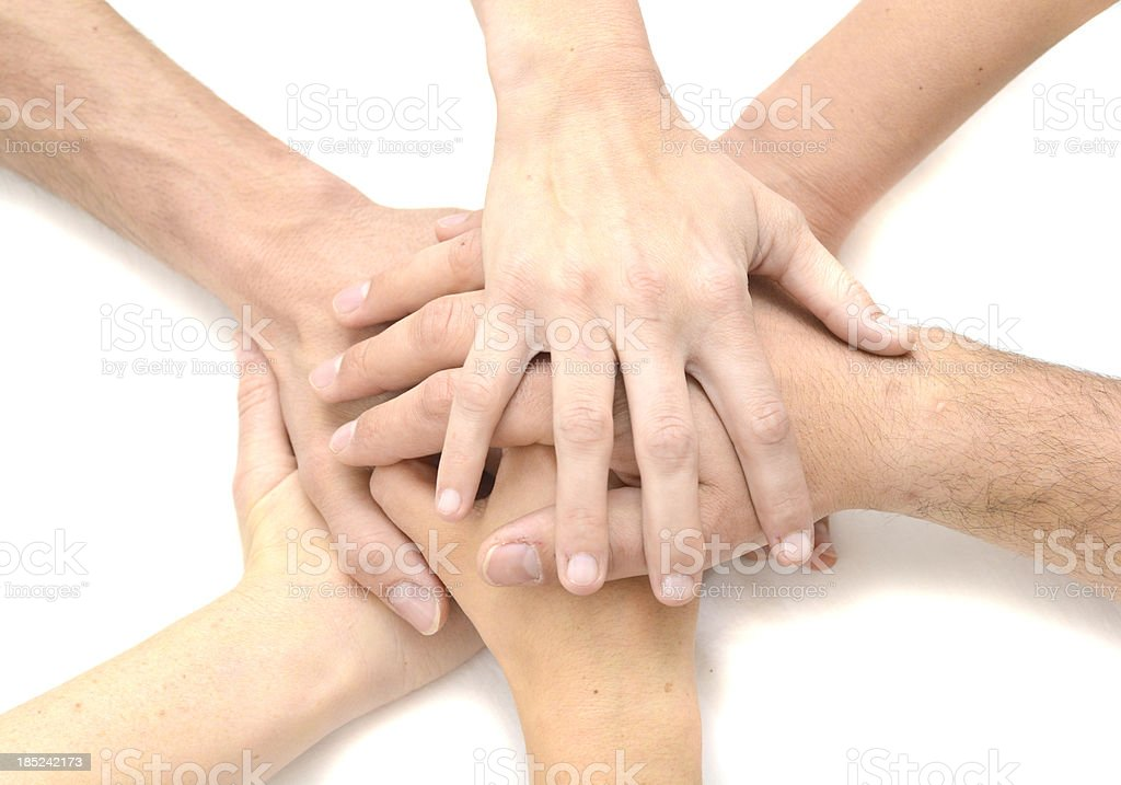 Team hands on white background six people royalty-free stock photo