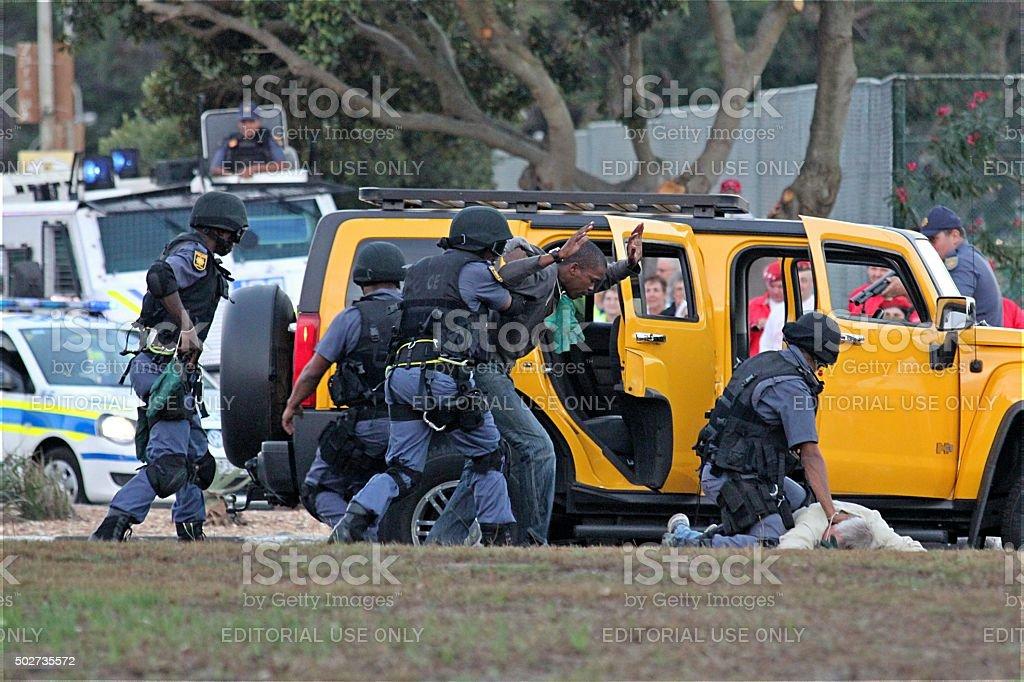 SWAT team high-risk vehicle arrest demonstration stock photo
