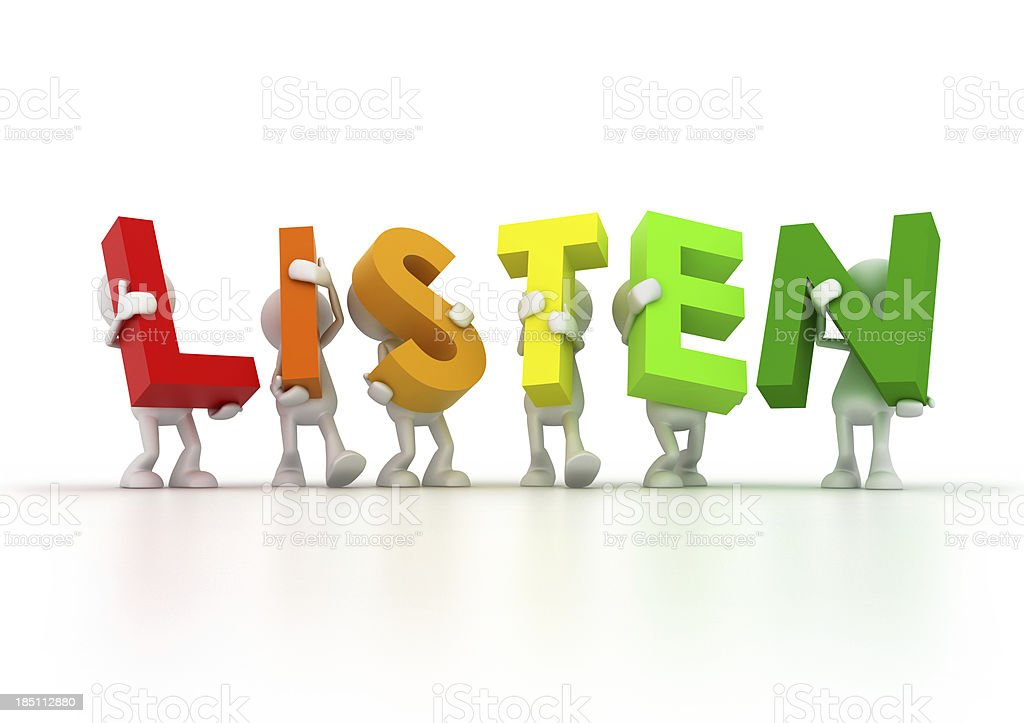 Team holding LISTEN word royalty-free stock photo