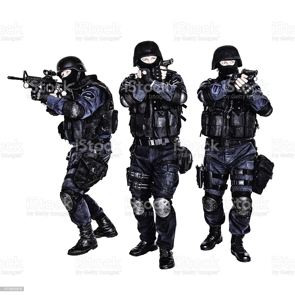 SWAT team in action stock photo
