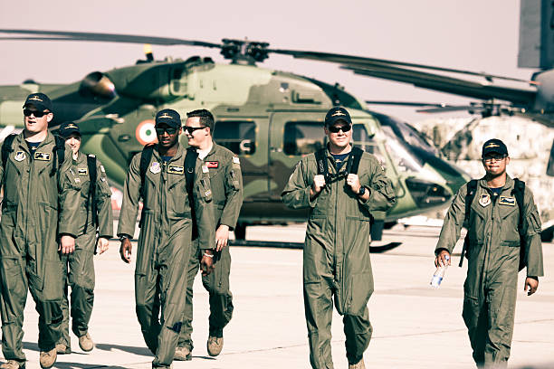 USAF C-17 Team in Aero India 2013 stock photo
