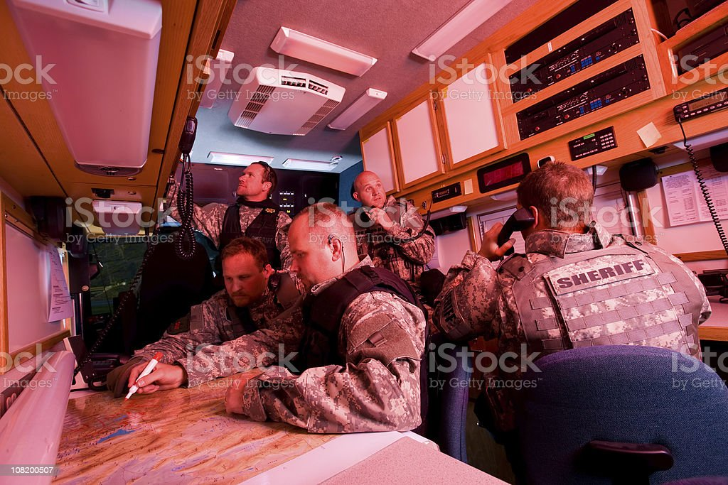 SWAT Team Inside Command Vehicle stock photo