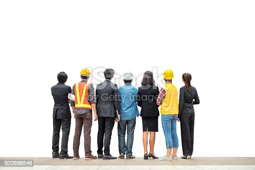 istock Team international business person with engineer professional rear standing on background 920998546
