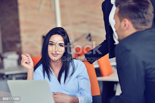 istock Team job. Photo young businessmans crew working with new startup project in modern loft. 859177490