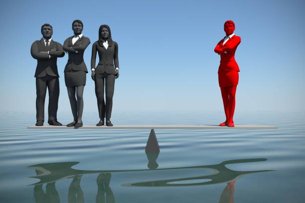 Team leader balancing with a great team at sea. A team of executives stands balancing where the counterweight is a great team leader at sea. trabajo en equipo stock pictures, royalty-free photos & images