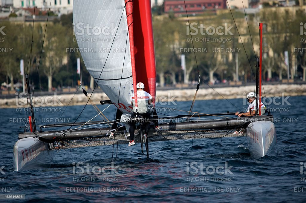 Team Luna Rossa 45 foot America's Cup Catamaran stock photo