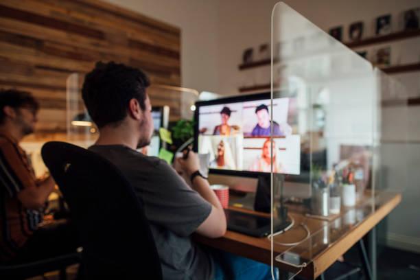 Team Meeting via Video Call stock photo