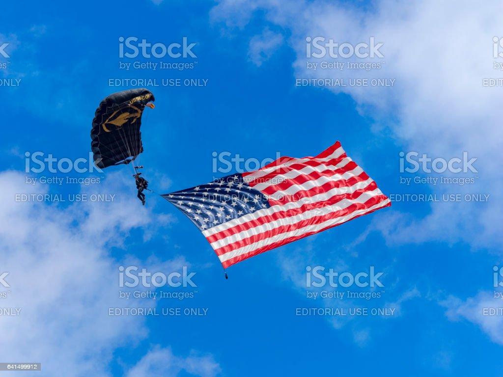 Team Member Parachute Para-Commandos U.S. Flag Airshow Hillsboro Oregon 2016 stock photo