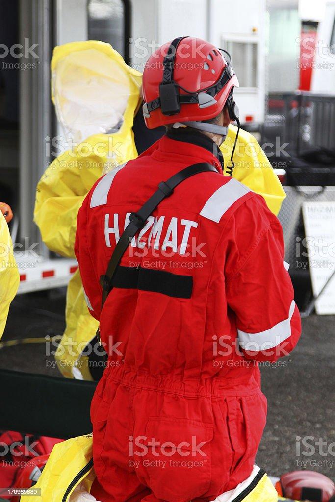 HAZMAT Team Member Suit Up stock photo