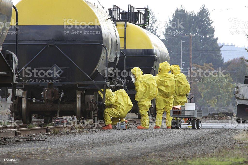 HAZMAT Team Members Checks For Leaks stock photo