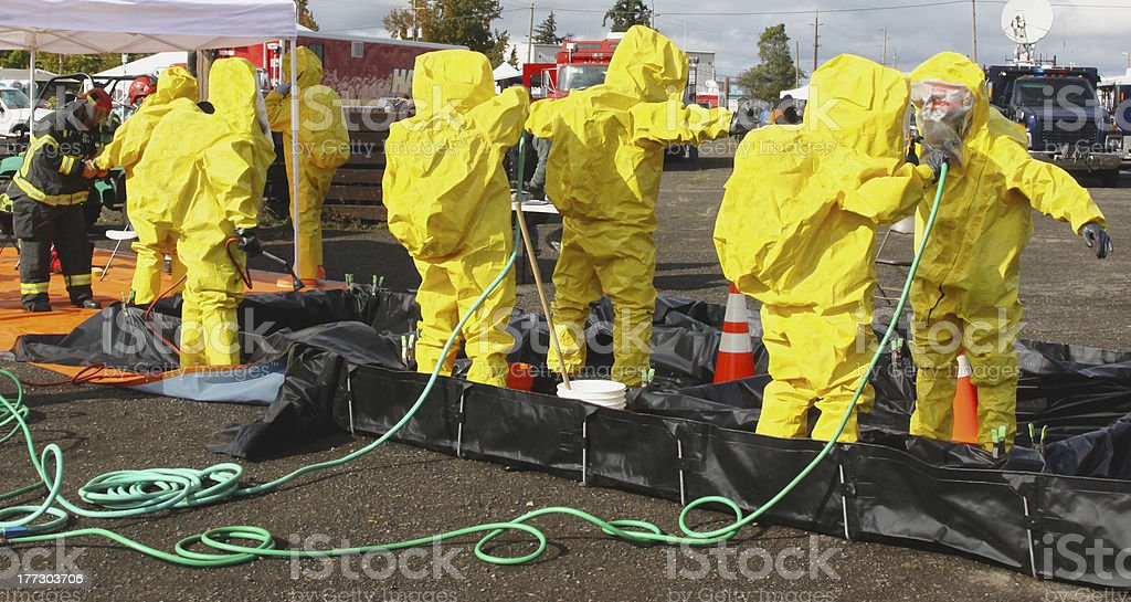 HAZMAT Team Members Clean Up 2 stock photo