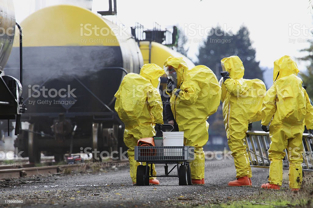 HAZMAT Team Members Suited Up For Disaster Drill stock photo