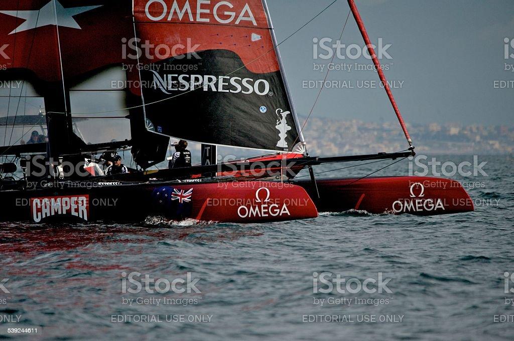 Team New Zealand 45 foot America's Cup Catamaran stock photo