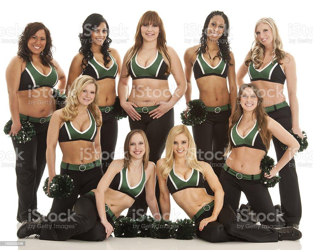 Team of Beautiful Cheerleaders (Isolated on White Background) stock photo