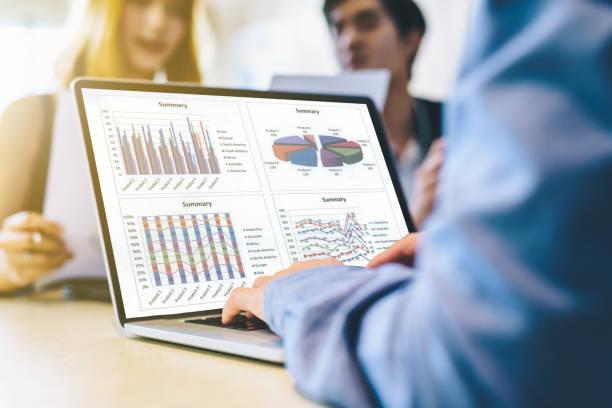 Team der Unternehmensberatung, Analyse von Business-Plänen. Für Gewinn und Stabilität der Unternehmen Nachhaltigkeit. – Foto