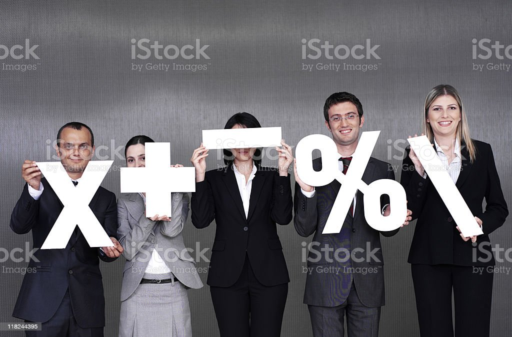 Team of business people holding white signs royalty-free stock photo