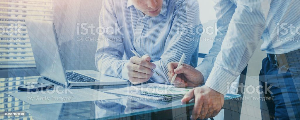 team of business people working together in the office, teamwork double exposure team of business people working together in the office, teamwork background banner, double exposure Adult Stock Photo