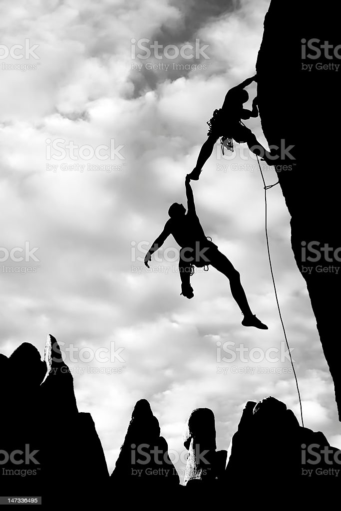 Team of climbers in danger. royalty-free stock photo