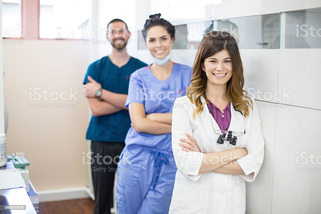 A team of dental professionals. stock photo