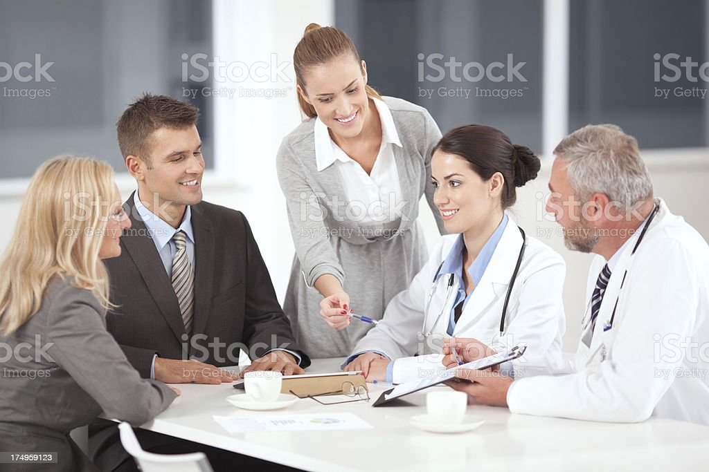 Team of doctors at a business meeting royalty-free stock photo