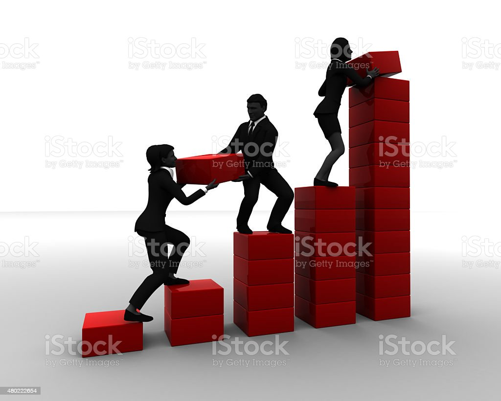 Team of executives working on a Bar Chart stock photo