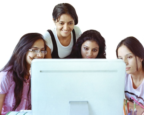 istock Team of female friends doing research over internet. 481211415