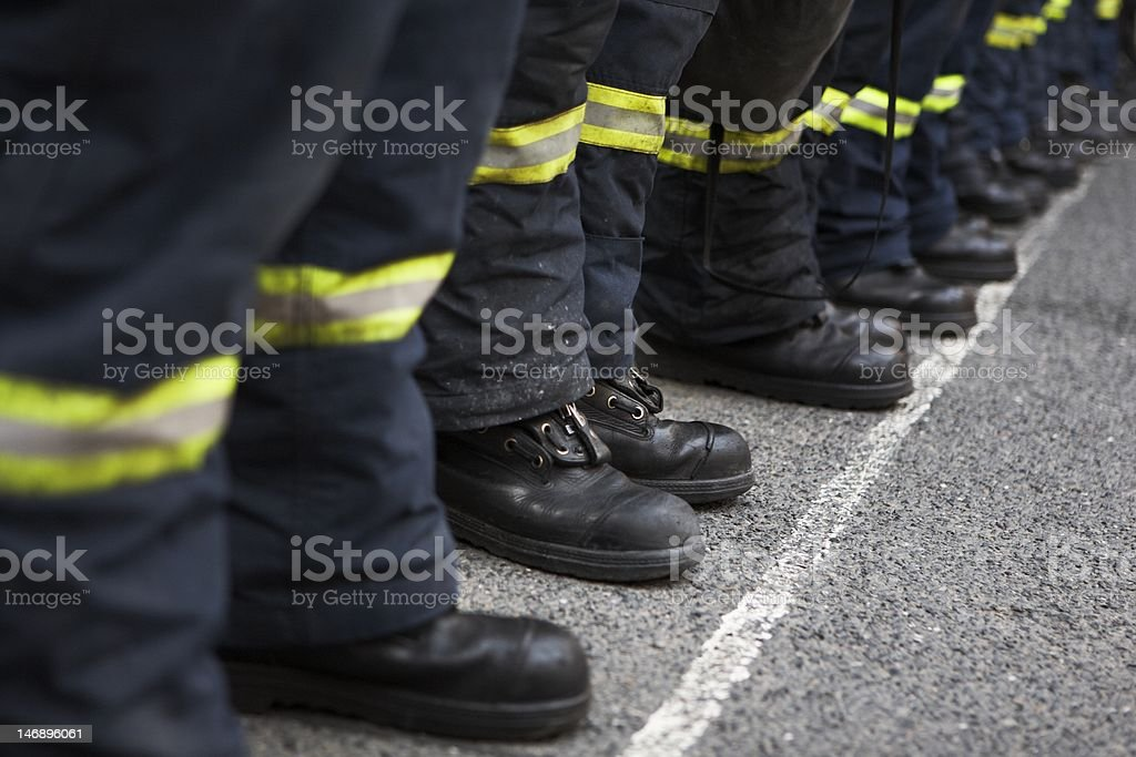 Team of firefighters stock photo