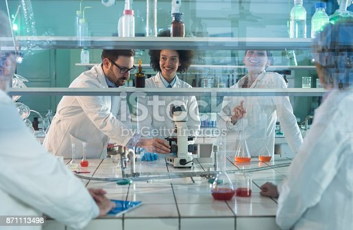 499203366istockphoto Team of happy lab workers talking in laboratory. 871113498