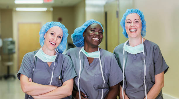 Team of healthcare worker in hospital stock photo
