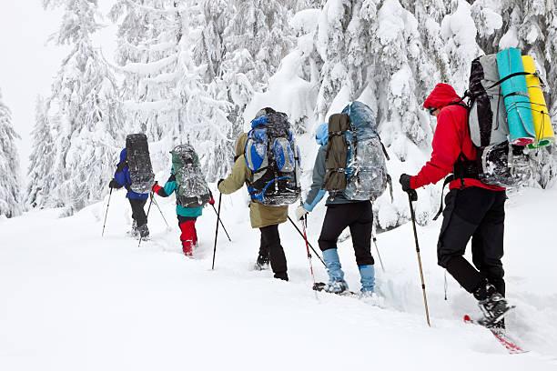 l'équipe de randonneurs en montagne hiver - raquette photos et images de collection