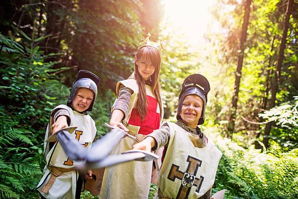 team of knights in forest - mittelalterliche ritter stock-fotos und bilder