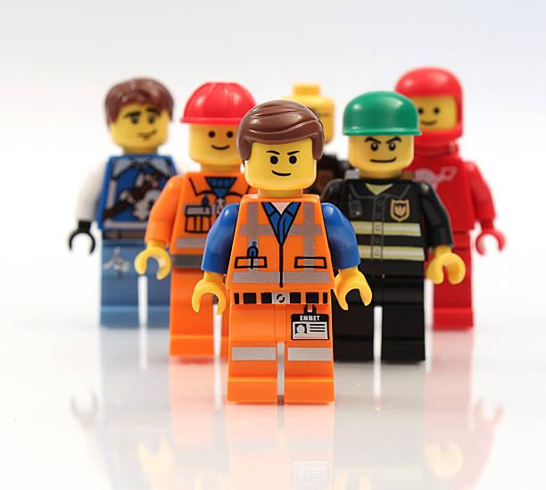 Team of Lego Minifigure Men stock photo