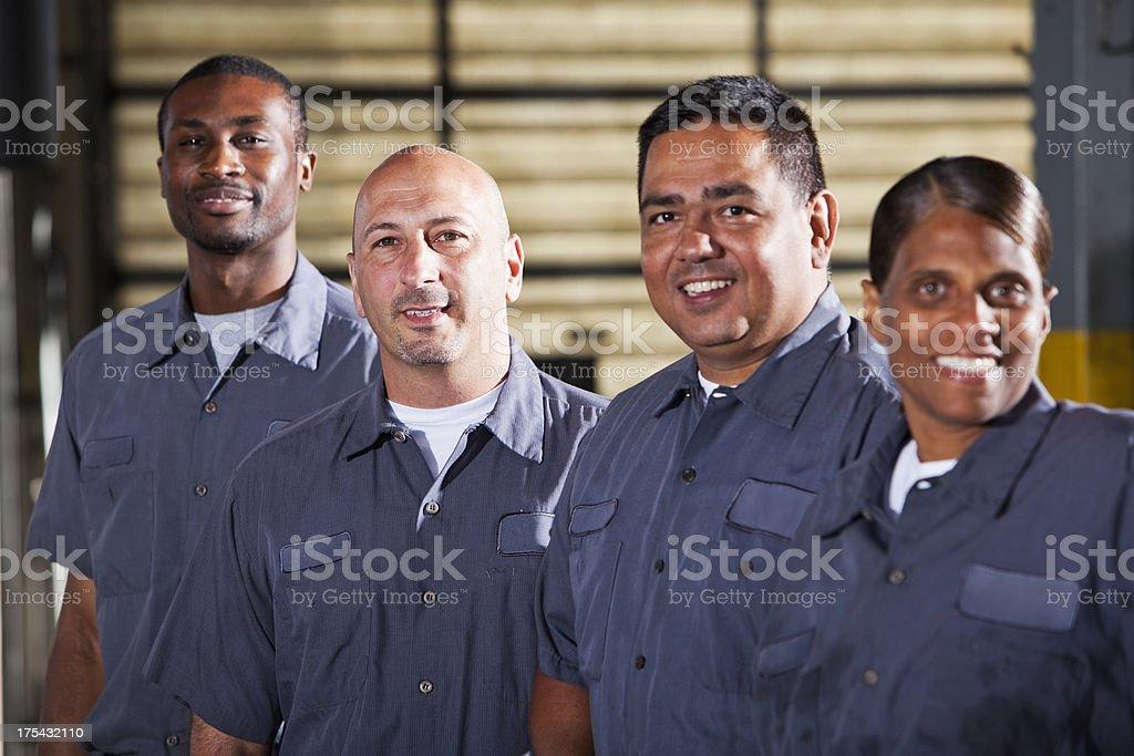 Team of mechanics royalty-free stock photo
