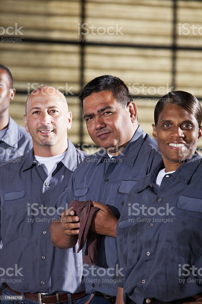 Team of mechanics royalty-free stock photo