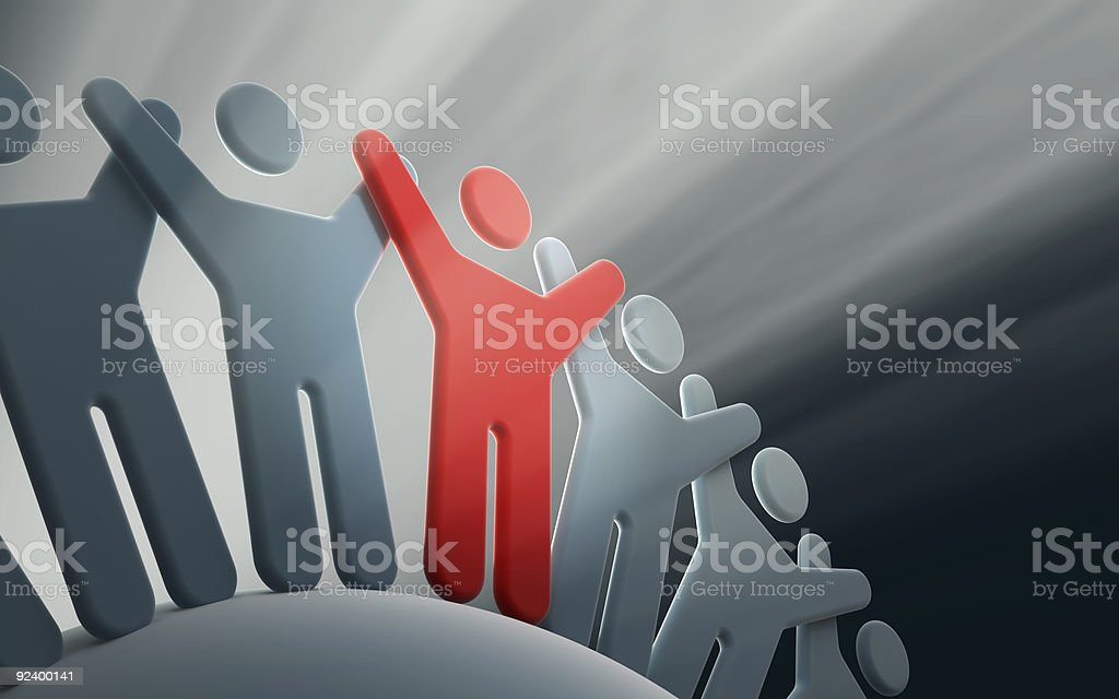 team of people with hands up royalty-free stock photo