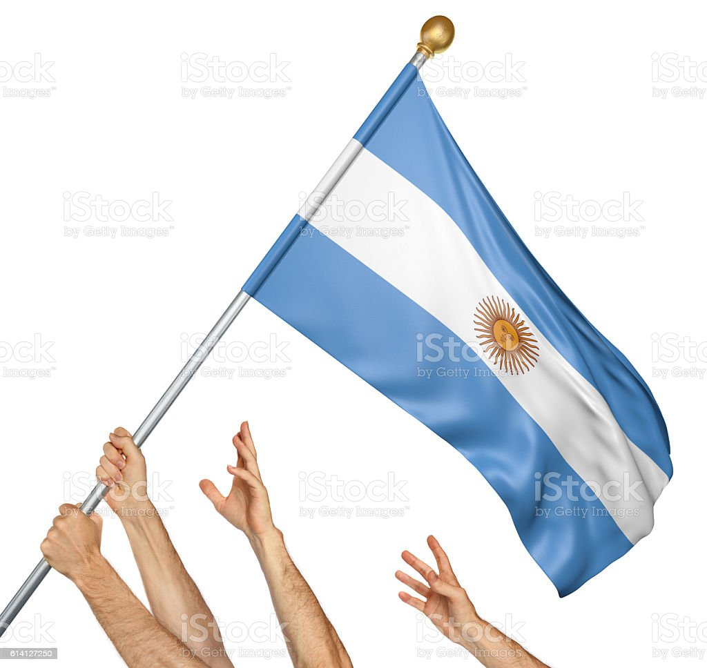 Team of peoples hands raising the Argentina national flag - foto de acervo