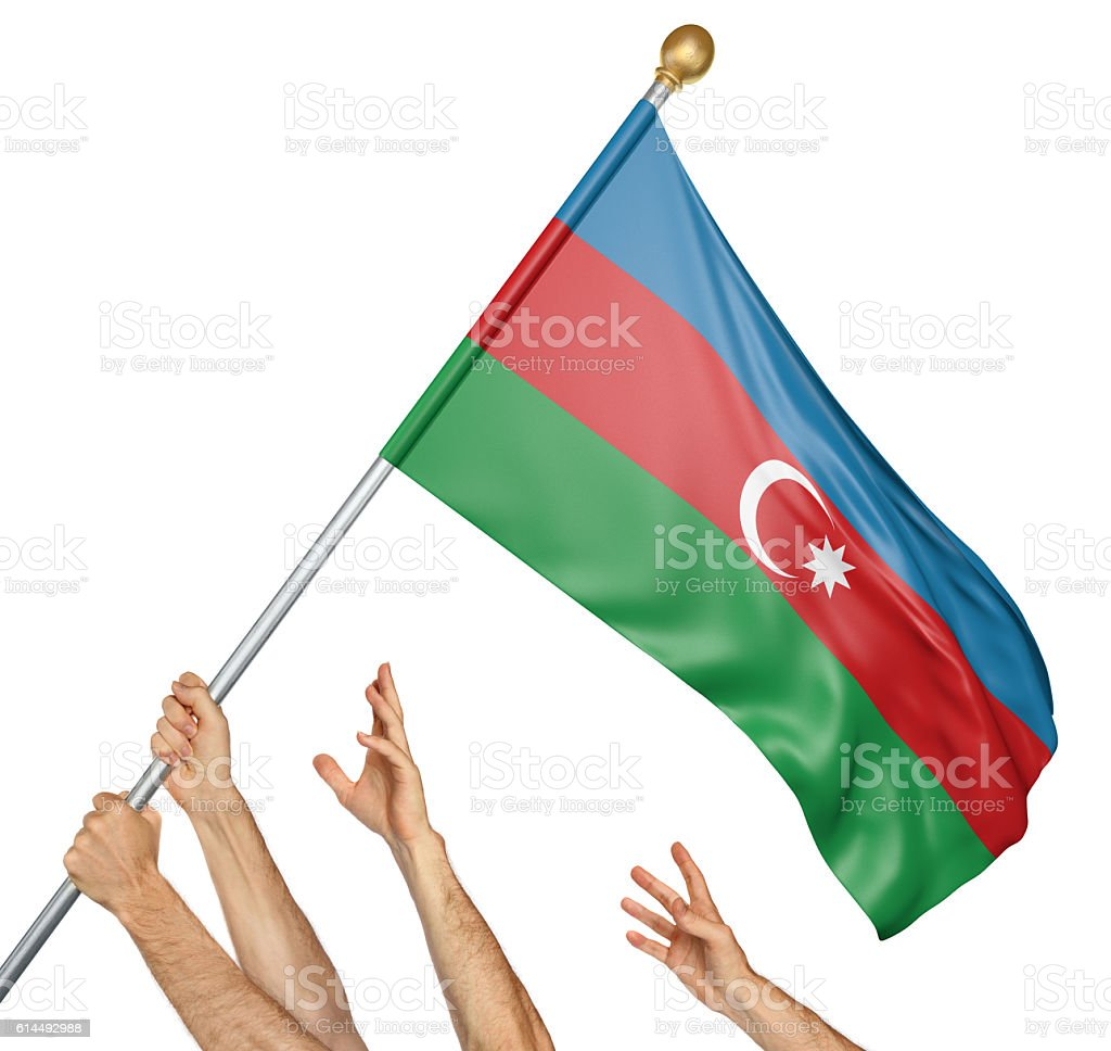 Team of peoples hands raising the Azerbaijan national flag stock photo