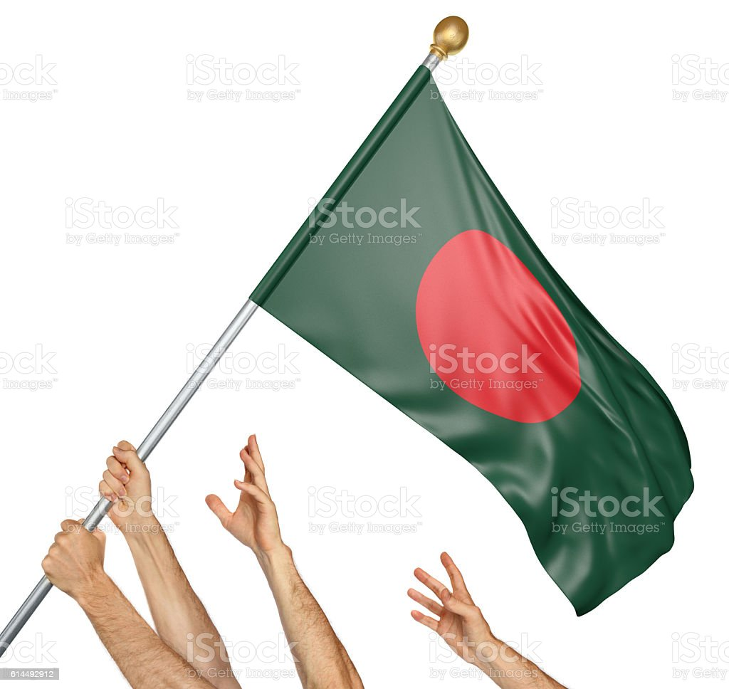 Team of peoples hands raising the Bangladesh national flag stock photo