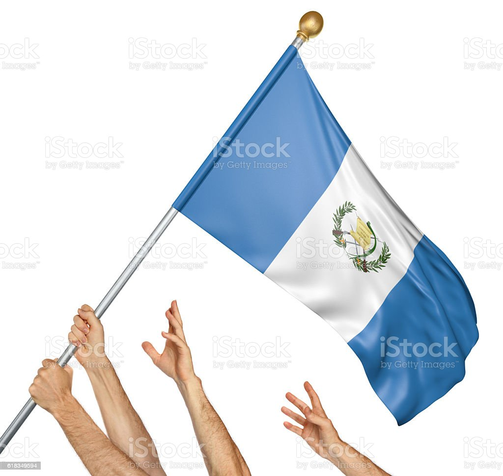 Team of peoples hands raising the Guatemala national flag - foto de stock