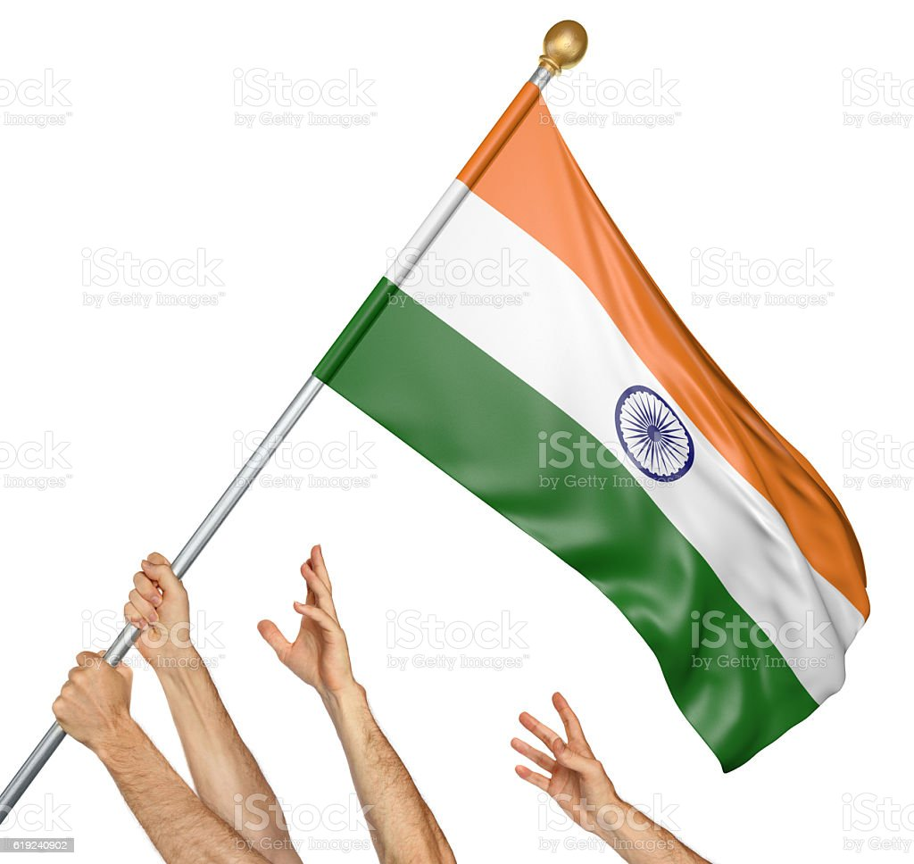 Team of peoples hands raising the India national flag - foto de acervo