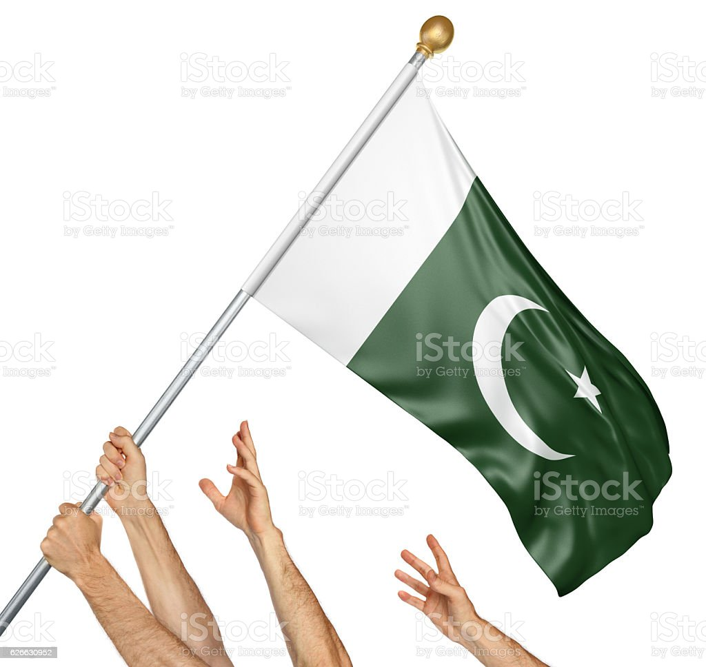 Team of peoples hands raising the Pakistan national flag stock photo