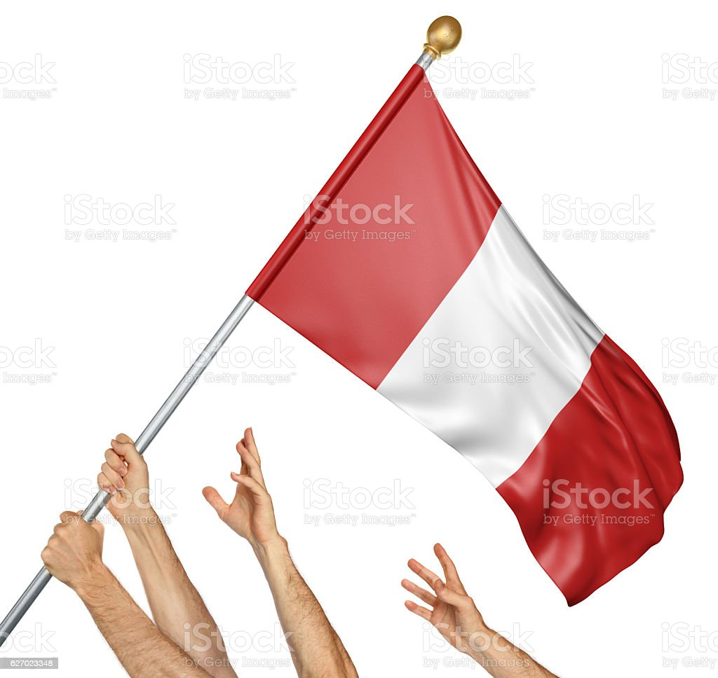 Team of peoples hands raising the Peru national flag stock photo