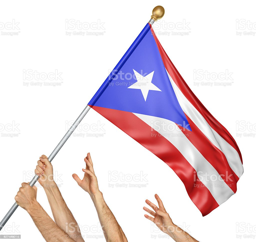 Team of peoples hands raising the Puerto Rico national flag - foto de stock