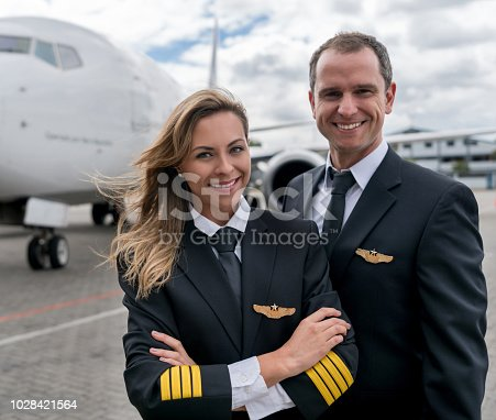 Portrait of a team of successful pilots next to an airplane and looking at the camera smiling - travel concepts