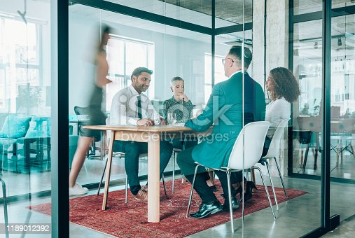 1163429625istockphoto Team of professionals during a meeting. 1189012392