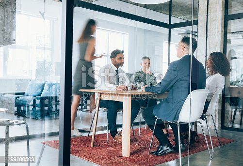 1163429625istockphoto Team of professionals during a meeting. 1199100503