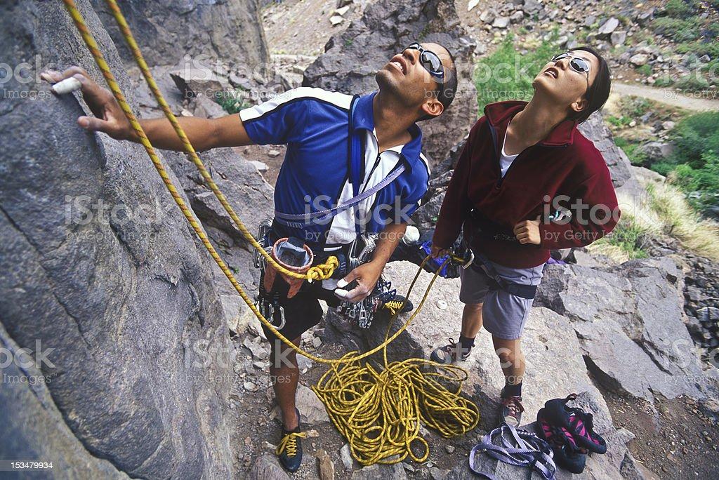 Team of rock climbers. stock photo
