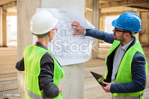 1166176793 istock photo Team of successful young architects looking at blueprints on a construction site 1143211594