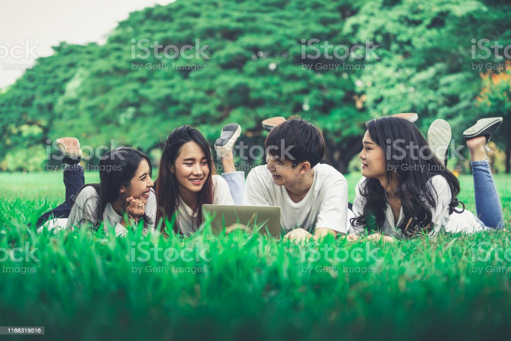 Team of young students studying in a group project in the park of...