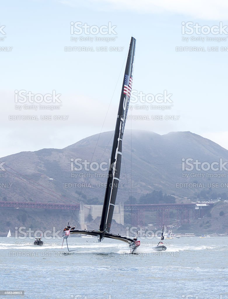 Team Oracle's 72 foot America's Cup catamaran out training stock photo